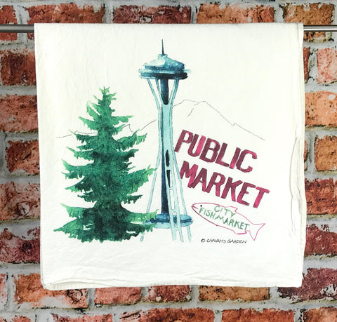 Seattle Tea Towel, Flour Sack Kitchen Towel