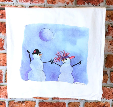 Snowman, Snow Couple Tea Towel