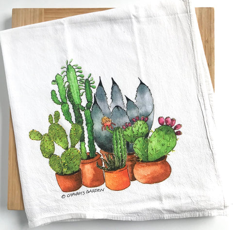 Succulents & Cactus Flour Sack Tea Towel