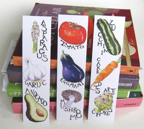 Three vegetable portrait bookmarks