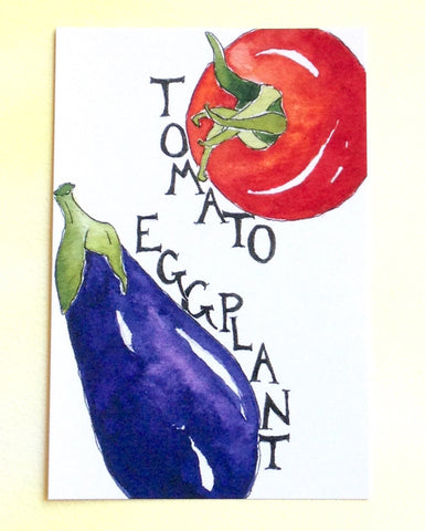Watercolor Tomato and Eggplant Postcards