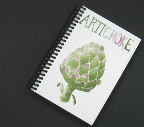 Blank notebook with watercolor artichoke