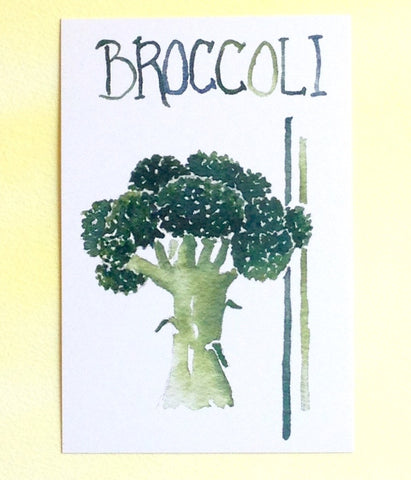 Watercolor Broccoli Postcards
