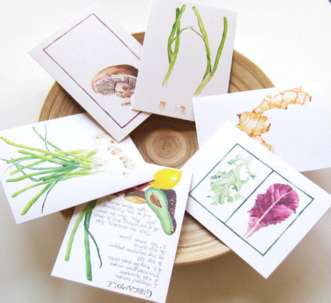 Six vegetable portrait art cards
