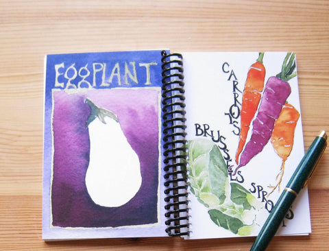 Notebook, Carrots and Brussel Sprouts, 4 x 6 inches, blank pages