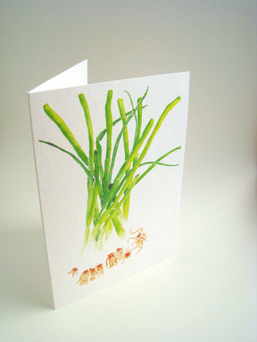 Watercolor green onions, art card