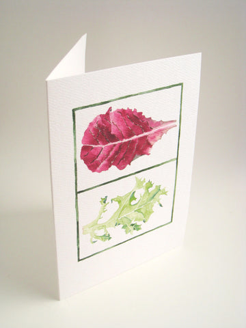 Watercolor Lettuce portrait, art card