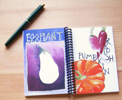Blank notebook, watercolor pumpkin and radish on cover