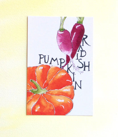 Watercolor Radish and Pumpkin Postcard