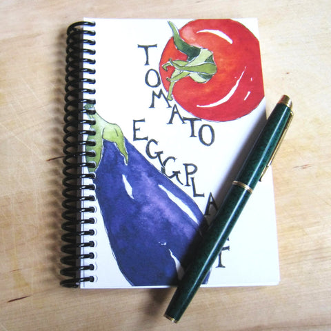 Blank notebook, watercolor tomato and eggplant cover