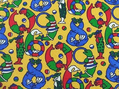 ALAN GREEN London Italian Silk Tie - Brightly Colored Silly Penguins 38