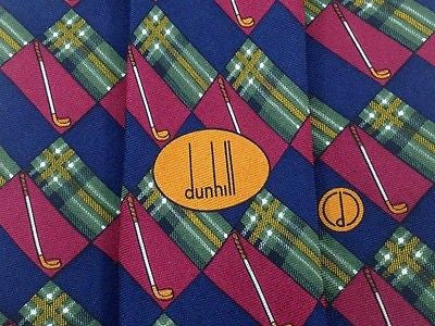 Designer Tie Dunhill Hockey Stick in Burgundy & Blue Boxes Silk Men NeckTie 30