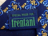 Motif Repeat TIE Crest on Blue Silk Men Necktie 23