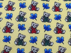 Italian Silk Tie - Yellow with Teddy Bear Pattern - Charming,  Unusual 33