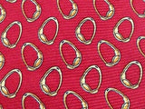 JOS. A BANKS Italian Silk Tie - Red with Gold Ring Pattern 36