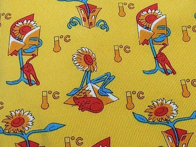Novelty Tie Siemens Sunflower Character On Yellow Silk Men Necktie 43