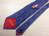 S. T. DUPONT Paris Silk Tie - Blue with Red & Brown Feather Pattern 39
