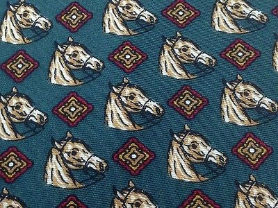 Designer Tie Ser Men Horse Head & Red Pattern on Spruce Blue Silk Men Necktie 32