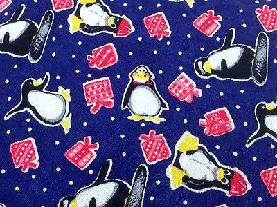 Novelty Tie Akanso Laporta Penguin with Gifts on Blue Silk Men NeckTie 30