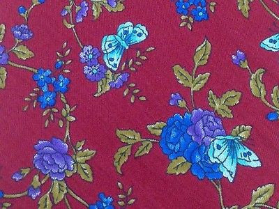 LUCIANO Italian Silk Tie - Dark Red with Blue Floral/Butterfly Pattern 27