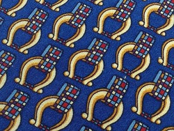 JAEGER of London Silk Tie - Blue with Gold with Horseshoe Buckle Pattern 41