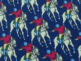 Novelty Tie Giorgio Corregiari Men Playing Polo On Dark Blue Silk Men Necktie 43