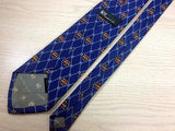 PIERRE PACHA Italian Silk Tie - Blue with Coat of Arms Pattern  34