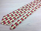 Animal Tie Jim Thompson Perpetual Red Parrot on Off-White Silk Men Necktie 47