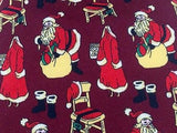 Novelty Tie Havana Santa with Luggage on Burgundy Silk Men NeckTie 30