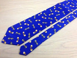 Designer Tie Alessandro Magno Yellow Sun Glasses on Blue Silk Men NeckTie 44