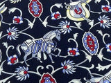 Novelty Tie Marco Polo Silver Design with Horse on Navy Blue Silk Men Necktie 45
