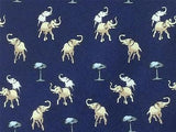 Kai Long TIE Elephant on Blue Animal Novelty Theme Repeat Silk Necktie 3
