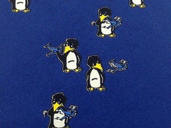Animal Tie Aerodata Penguins With Planes On Dark Blue Silk Men Necktie 31