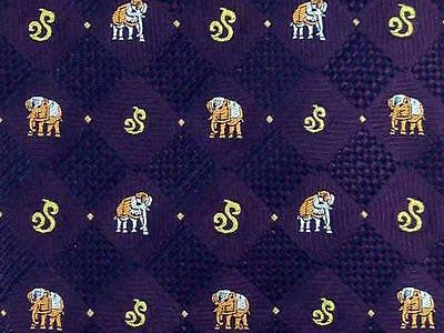 Animal TIE Embroidered Elephant Purple Brown Made in Thailand Silk Necktie 5