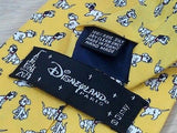 DISNEYLAND PARIS Silk Tie - Yellow w 101 Dalmations Theme 37