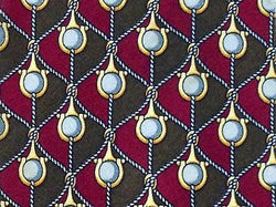 Geometric TIE Pearl on Tan and Fushia Made in Italy Silk Necktie 5