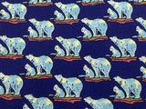 Animal Tie Stefano Nelli Polar Bears On Water On Dark Blue Silk Men Necktie 29