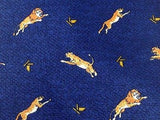 KRIZIA UOMO Italian  Silk Tie - Blue with Gold Lions Pattern 39