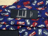 DUNHILL Italian-made Silk Tie - Blue with Red & White Dominoes Pattern  34