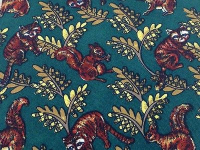 Animal Tie Emisfero Squirrels and Raccoons On Dark Green Silk Men Necktie 29