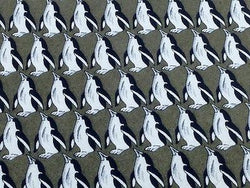 Animal Tie Giovammi Rossi Penguin on Grey Silk Men NeckTie 46