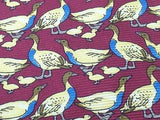 Animal Tie Windsor Ducks & Ducklings on Magenta Silk Men Necktie 48