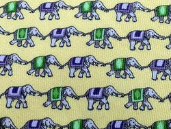 Animal Tie Jim Thompson Elephant on Yellow Silk Men NeckTie 46