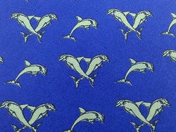 Animal Tie Dido's Roma Dolphins On Ocean Blue Silk Men Necktie 29