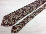 Designer Tie Trussardi Multicolered Design on Brown Silk Men Necktie 47