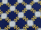 Designer Tie Celine Paris White And Golden Check on Navy Blue Necktie 45