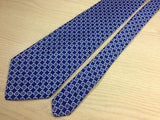 PAUL FREDRICK Handmade Silk Tie - Navy with Light Blue Circle Design 36