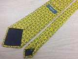 BALLY Silk Tie - Yellow with Blue Chain Pattern 40