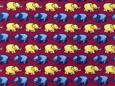 Animal Print TIE  Baby Elephant on Red Made in ITALY Silk Necktie 6