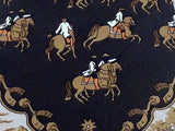 Vintage Tie Celine Horse Riders in City on Black Silk Men Necktie 32